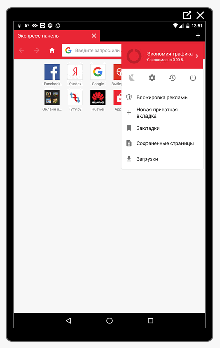 Интерфейс Оперы Мини