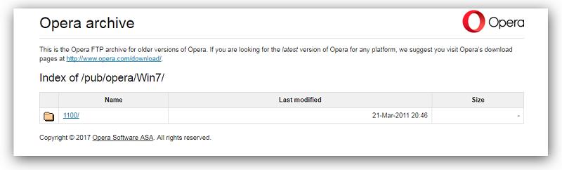 выбор версии Оперы